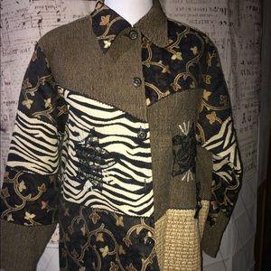 Quizz Petite PXL Vintage Multi Brown Jacket/Coat